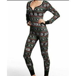 PINK VS Sleep 1 Piece Onesie Thermal Pajamas PJs M